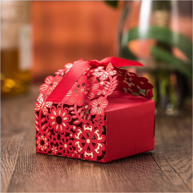 Cheap Wedding Favor Boxes 2016 Big Size Red Wedding Candy Box