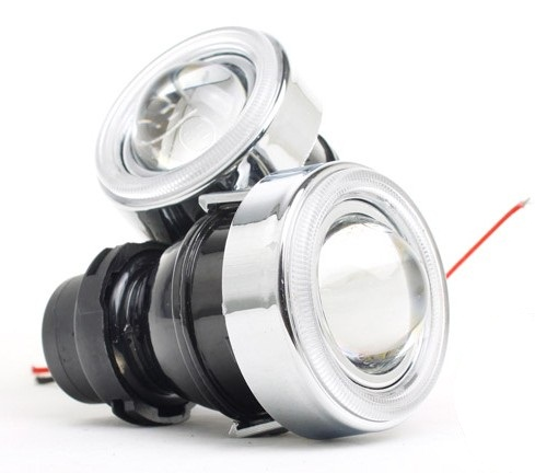2pcs 12V/35W car HID xenon projector lens fog lamp Assembly H3 HID bulbs 6000K fog lights lens with angle eyes DRL zt01 2 5 35w 3000lm 4300k hid angle eyes projector lens car xenon light silver pairs