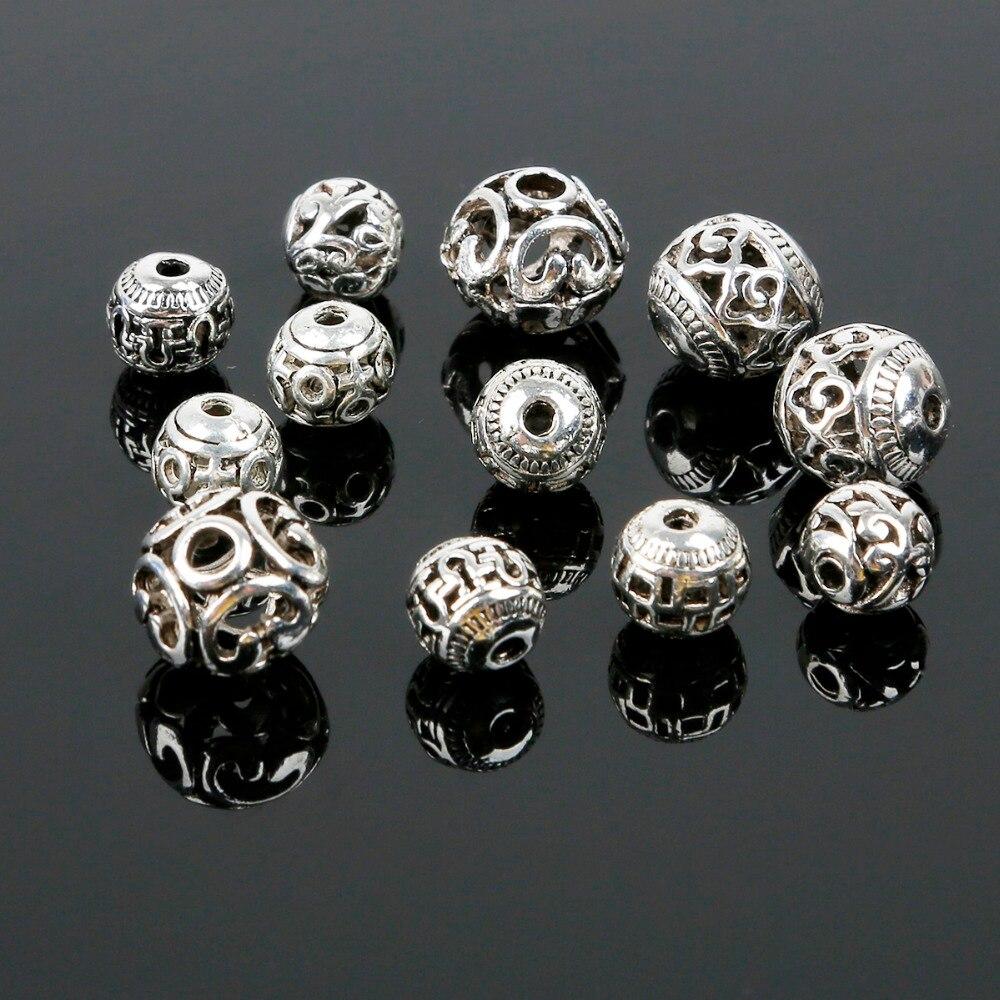 Creux 8-11mm 10 pcs/lot Antique argent plaqué trou rond 2mm alliage entretoise perles à la mode charmes perles en métal pour les femmes bijoux bricolage