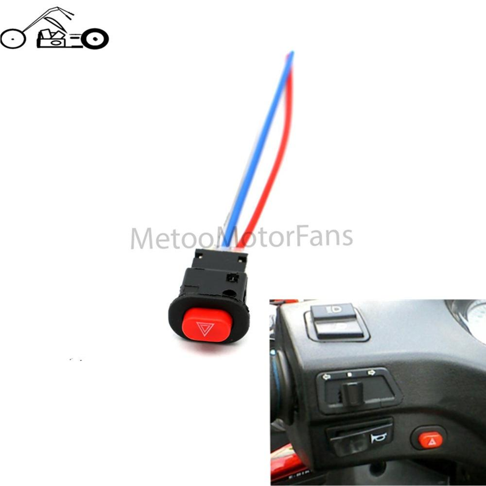 1pcs Motorcycle Switch Hazard Light Switch Button Double Flash Warning Emergency L& Signal Flasher with 3