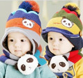 New fashion winter and autumn children woolen knitted hat panda pattern baby boy and girl hat and scarf set