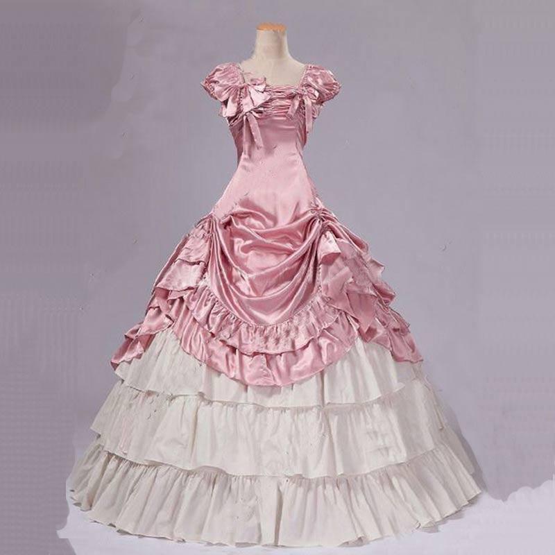 Индивидуальные 2018 летние вечерние платья для сцены, платья для танцев, розовые и белые хлопковые платья с бантом в готическом викторианском