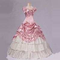 Customized 2018 Summer Stage Party Dance Dress Pink and White Cotton Bow Gothic Victorian Period Dress Ball Gowns For Women