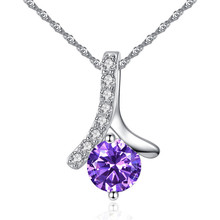 TJP Trendy 925 Sterling Silver Necklace For Women Jewelry Top Quality Crystal Purple Girl Choker Lady Party Bijou