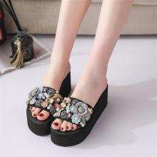Women's Slippers Flowers Wedges Slippers Platform Rhinestone Women Slippers 2019 New Fashion Open Toe Summer Shoes