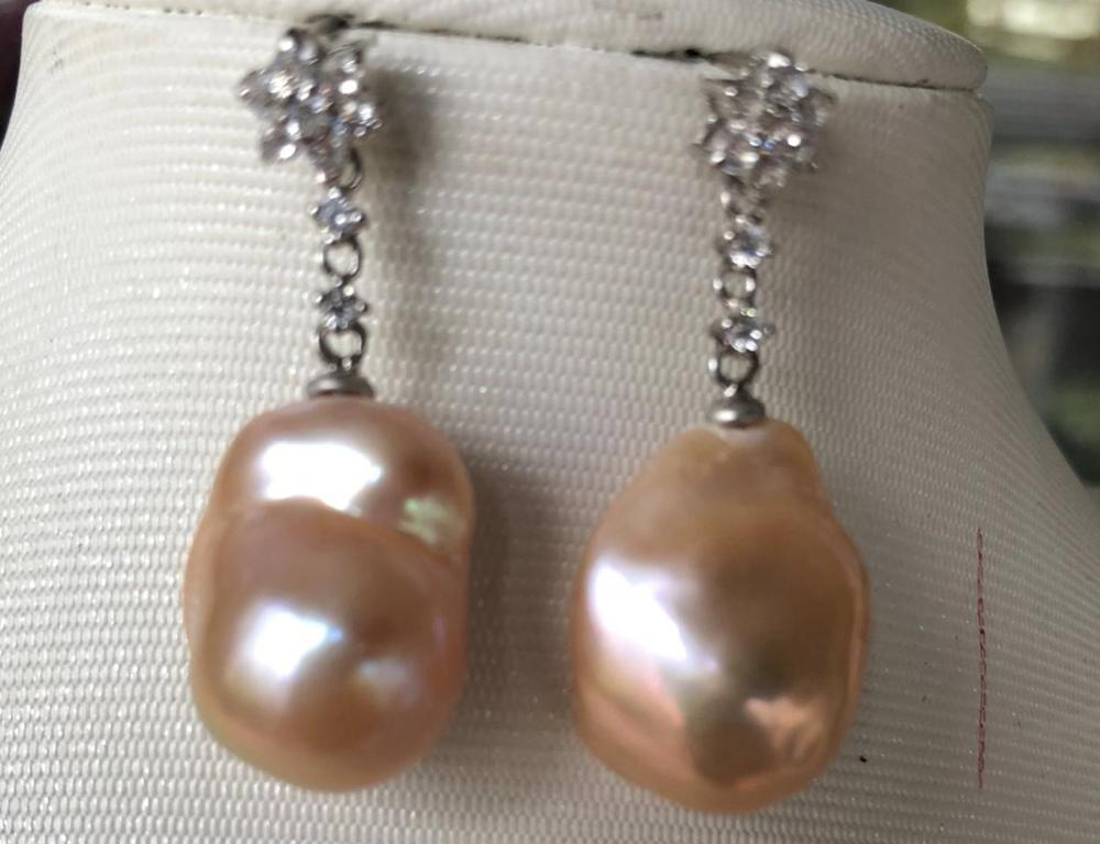 charming pair of 18-20mm south sea gold pink pearl dangle earring 925silvercharming pair of 18-20mm south sea gold pink pearl dangle earring 925silver