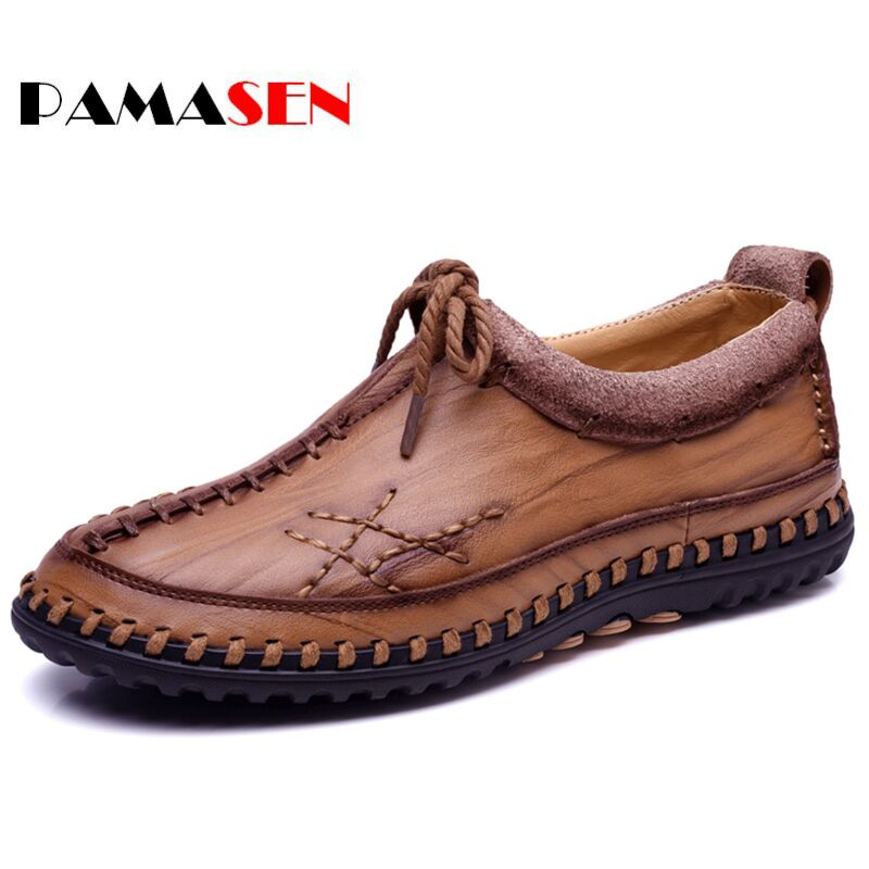 PAMASEN Handmade Genuine Leather Casual Men's Shoes Fashion Men Flats Exquisite design Non-slip Comfortable Men Casual Shoes new style comfortable casual shoes men genuine leather shoes non slip flats handmade oxfords soft loafers luxury brand moccasins