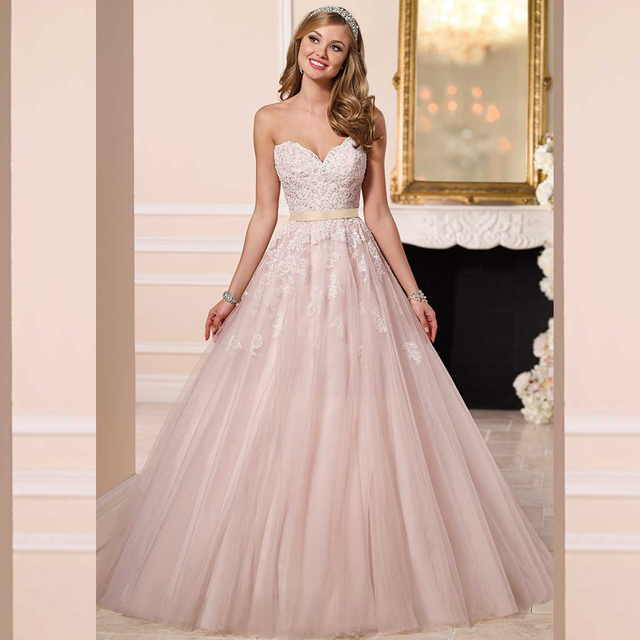 Princess Ball Gown Sweetheart Strapless Bridal Gown Romantic Lace ...