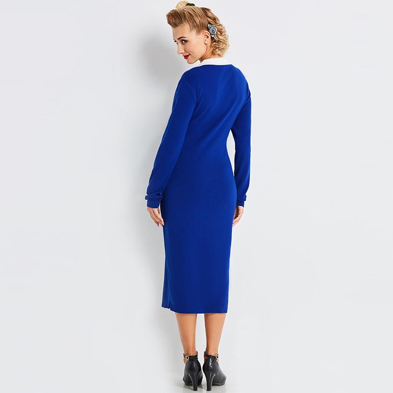 Sisjuly women sweater dress autumn winter royal blue sheath button bodycon  knit dress white peter pan collar split maxi dress bd87513bc
