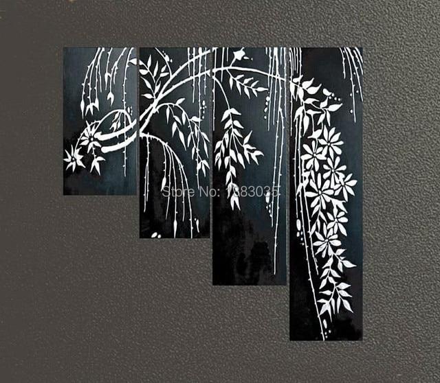 Hand painted lukisan abstrak cabang pohon bunga hitam dan putih 4 piece dinding kanvas seni dekorasi