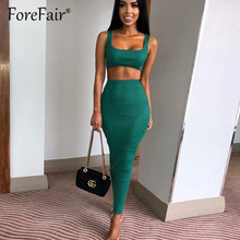 Forefair Two 2 piece Set women skirt suit 2019 sexy skinny tank crop top and high waist stretch bodycon long skirt outfit sets