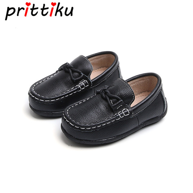 Spring 2018 Baby Toddler Boy Girl Genuine Leather Loafers Little Kid Casual  Classic Black White Flats 3484d9651c22
