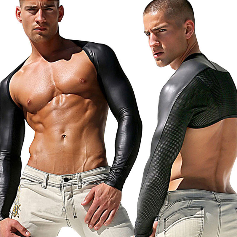 M-XXL Sexy Latex Fetish Catsuit Men Long Sleeve DS Nightclub Pole Dance Body Suits Sex Product Gloves PVC Black Erotic Leotard