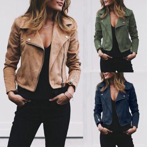 Fashion Leather Sherpa Jacket Women Ladies Wind Breaker Coat Winter Casual Coats Zip Biker Flight Jackets Clothes S-XL