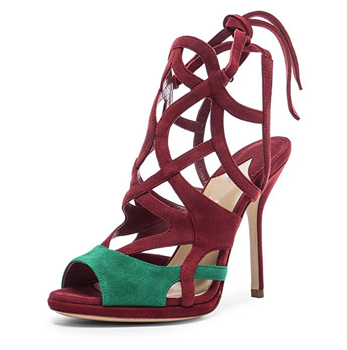 ФОТО Super Fashion Women Sandals Beautiful Open Toe Stiletto Heel High-quality Brown Green Wine Red Shoes Woman Plus US Size 4-15
