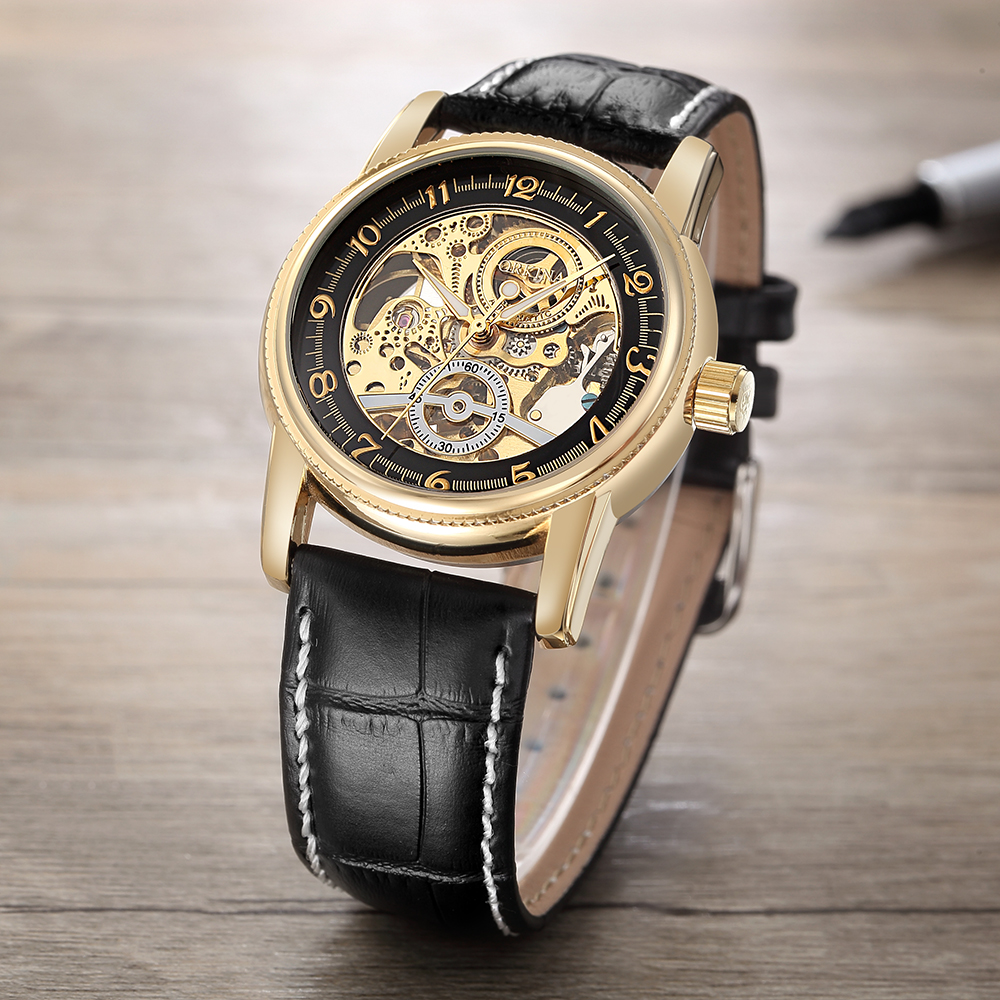 MG. ORKINA Mens Watch Fashion Casual Luxury Golden Skeleton Dial Mechanical Wristwatch Vintage Leather Strap
