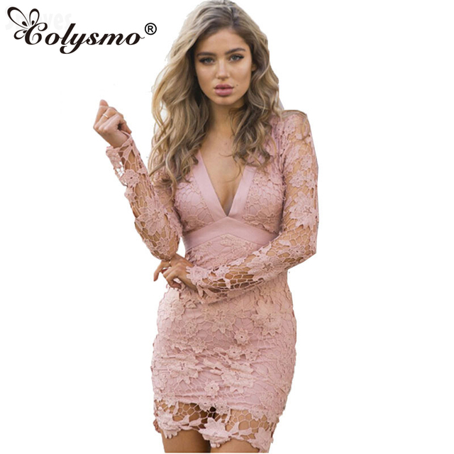 Colysmo Lace Floral Crochet Hollow Out Deep V Backless Bow Spring Summer  Women Pencil Dress Long fb639c0a7175