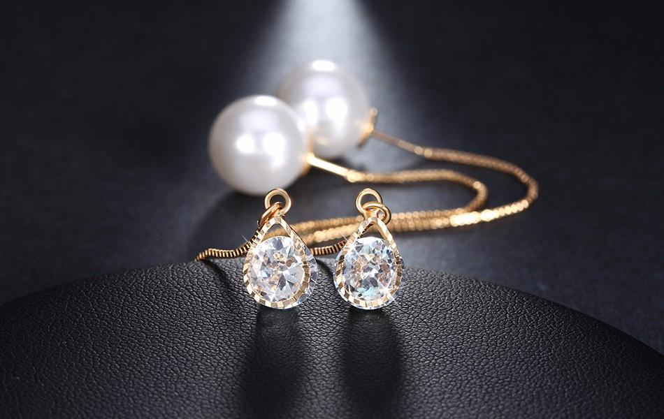 Effie Queen Fashion Cute Ear Wire Earrings Female Models Long Drop Crystal Imitation Pearl Jewelry Dangle Earrings Brincos DDE26 14
