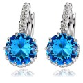 100% 925 Sterling Silver Jewelry  Real Platinum Plated  Blue Danube Earrings  Woman's  Ear clip Free Shipping