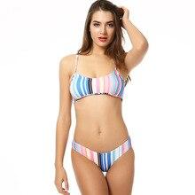 Striped Women Bikini Set Sexy Push Up Summer Beach Padded Rainbow Color
