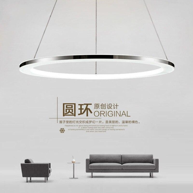 Moderne pendentif LED lumières à distance cercle anneau pendentif lampe abajour luminaria lustre pour salle à manger salon chambre cuisine