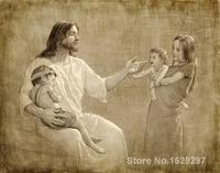 Portrait Woman painting Joseph Brickey Christ with Children handmade High quality