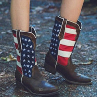 Women American Flag Pointed Toe Spring Western Cowboy Boots Ladies Punk Motorcycle Riding Ankle Boots Shoes Size 34 43
