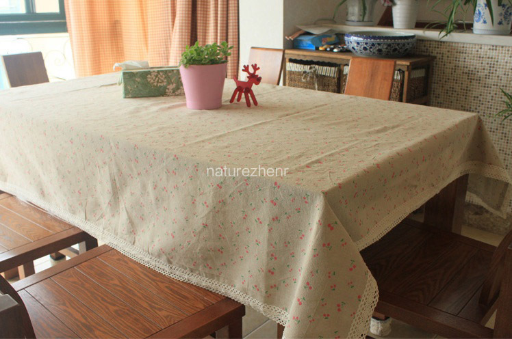 HBZ22 Tablecloth Cherry Fruit Cover Cloth Linen Natural Funky Pastoral  Floral Fabric Rectangle Squre Beige Napkin