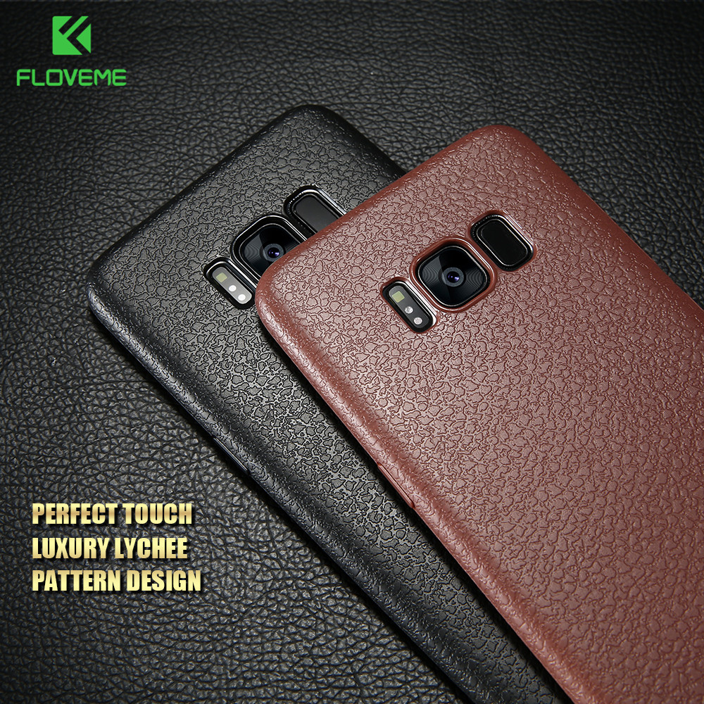 Galleria fotografica FLOVEME Ultra Thin Leather Skin Case For Samsung S8 S9 Plus Business Style Case For Samsung Galaxy S8 S9 Plus Back Protector