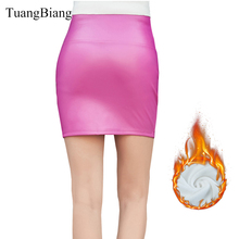 2018 women basic solid PU leather skirts velvet High Waist Thick Above Knee mini Bodycon Ladies Faldas Mujer Slim fashion Skirt