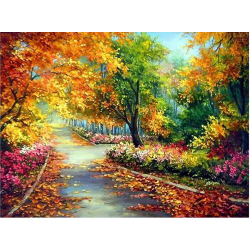 5D алмазная вышивка осенние листья развертки дерево лес круглый полная Мозаика из стразов картина Вставить Декор YY