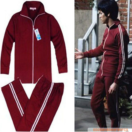 Bruce Lee Tracksuit Men's Sports Suits Sportswear Fitness Running Jogging Clothing Kung Fu Uniform Longstreet Costume Top+Pants 2016 chinese tang kung fu wing chun uniform tai chi clothing costume cotton breathable fitted clothes a type of bruce lee suit