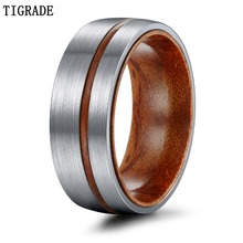Tigrade 6/8mm Titanium Ring  For Men Women Wedding Band with Nature Wood Comfort Fit Dome Matte Finish Grooved Promise Rings