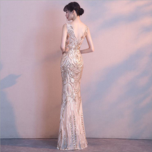 Sequined V-Neck 2018 new Women's elegant long gown party proms for gratuating date ceremony gala evenings dresses up A82