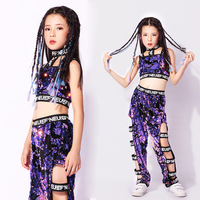 Children Purple Jazz Sequin Dance Costume Girls Hip Hop Clothing For Kids Dancing Costumes Street Performance Suit
