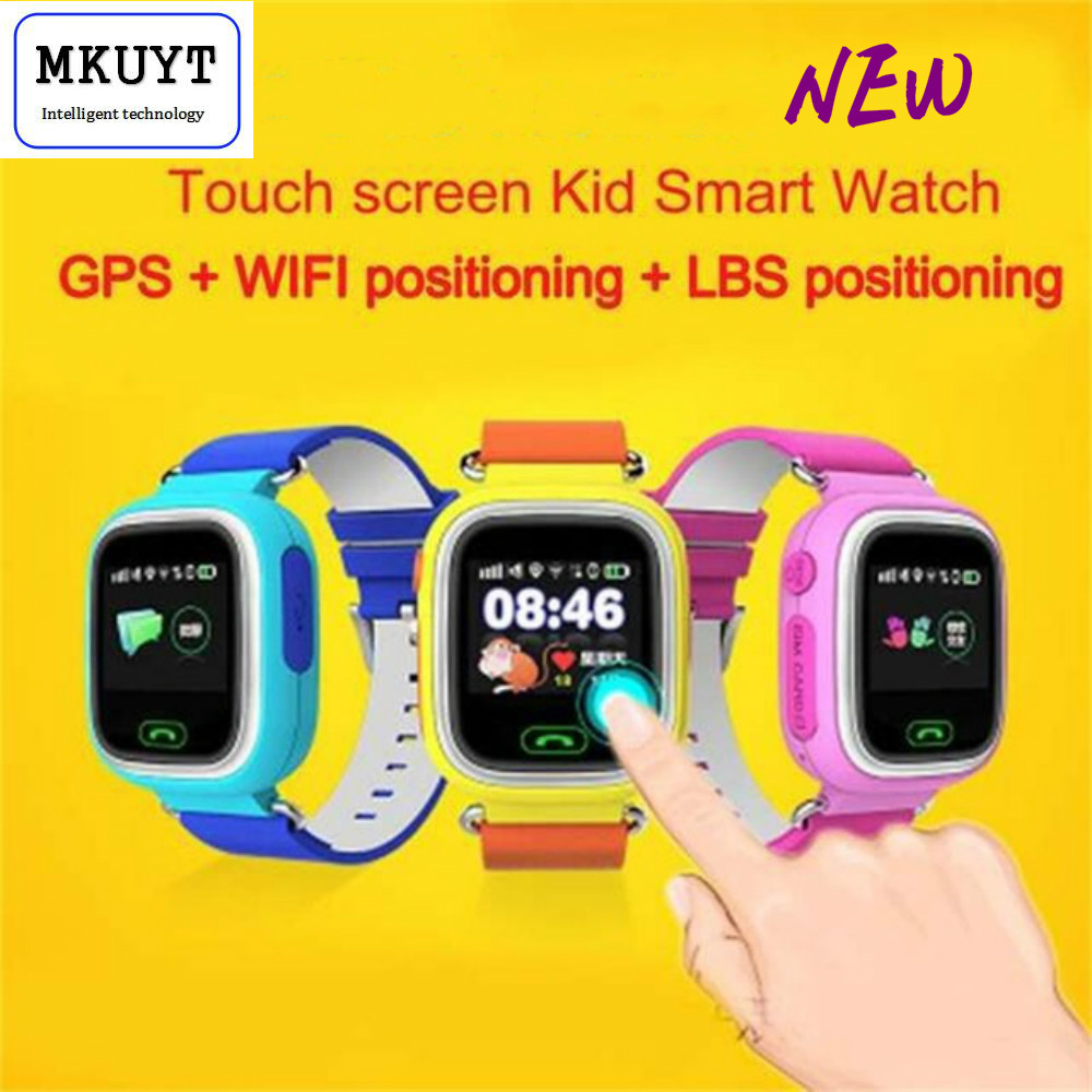 Free Shipping Q90 GPS Phone Positioning Fashion Children font b Watch b font 1 22 Inch