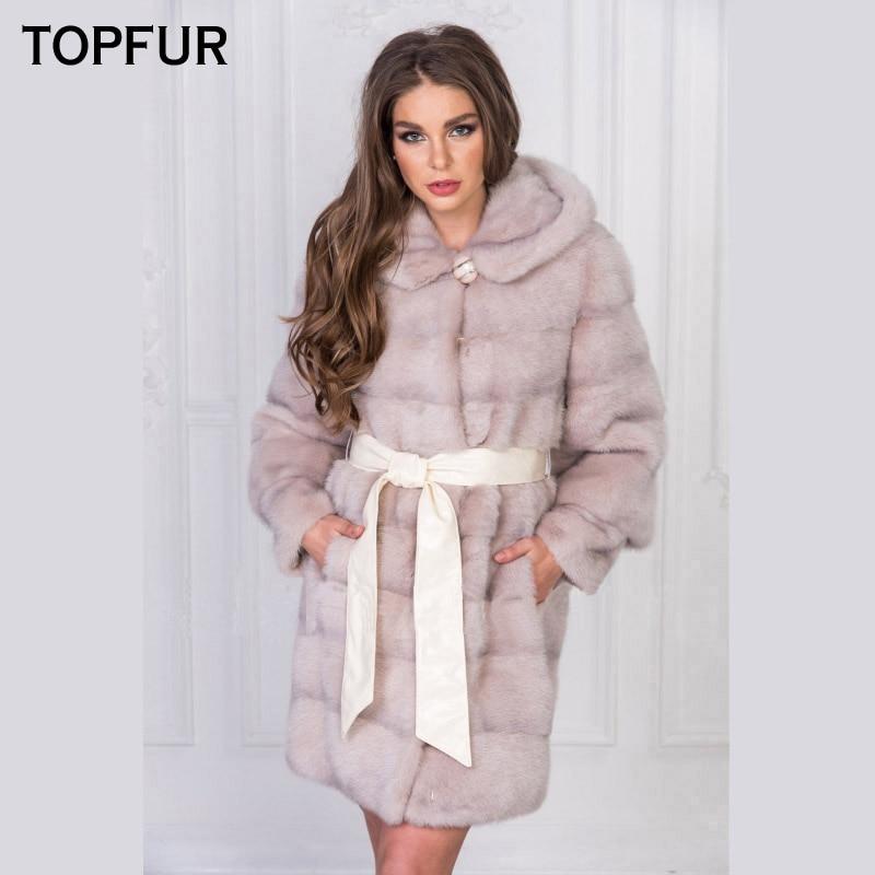 TOPFUR 2018 di Nuovo Modo di Arrivo Reale del Visone Cappotti di Pelliccia per Le Donne Con Cappuccio di Pelliccia di Colore Rosa Naturale Lunga Pelliccia di Visone inverno Giacca Calda