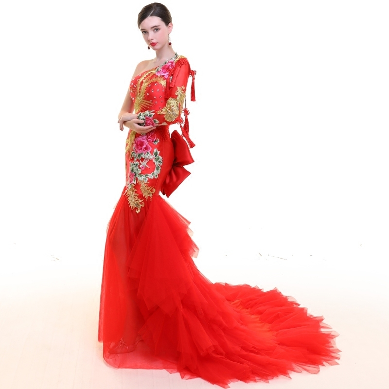 Red Women Phoenix Embroidery Dresses Traditional Evening Gown Qipao ...