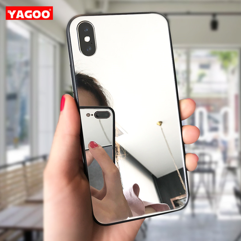 YAGOO Luxury clear Mirror view phone case for iphone X 7 6 8 plus case soft Silicon for iphone 6s 7 X cute slim glass back cover