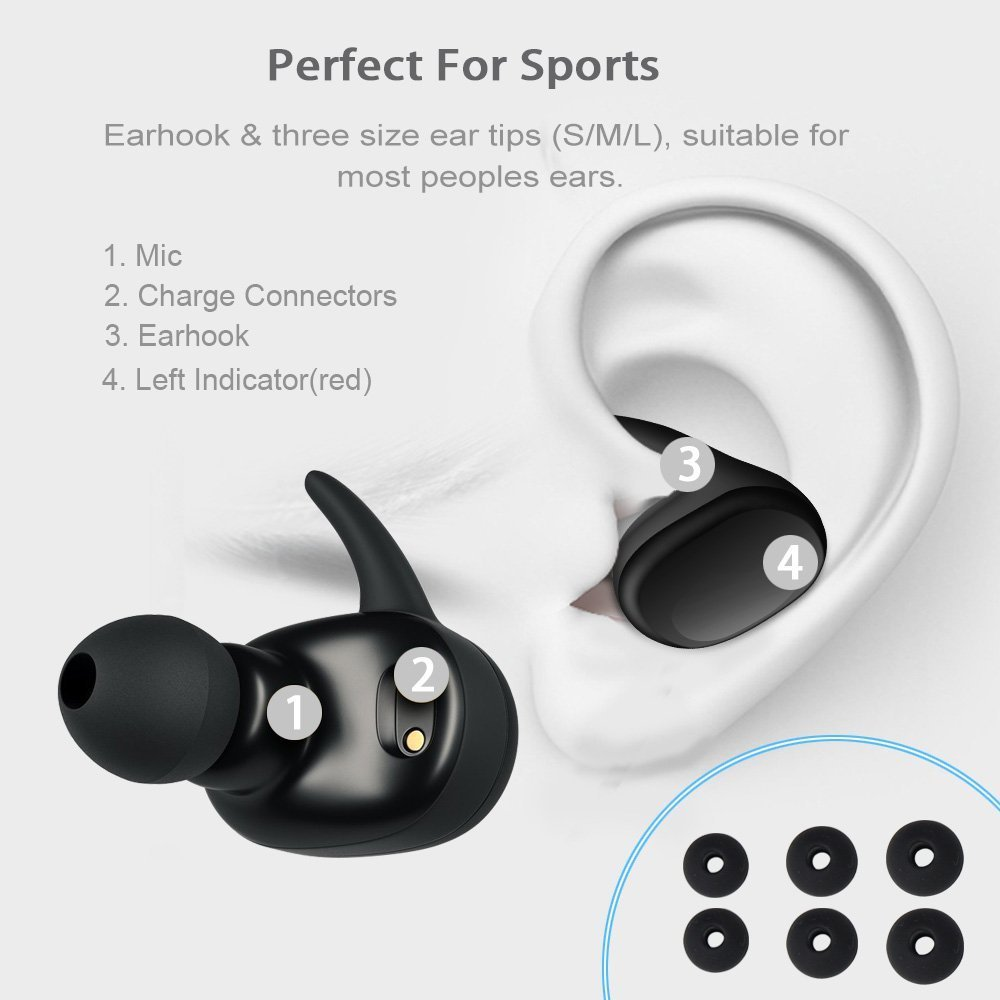 YINEW Portable Earphone Wireless Bluetooth Earbuds BT5 0 Handsfree Bass Stereo Headset MIC for Xiaomi IPhone X Max Huawei in Bluetooth Earphones Headphones from Consumer Electronics