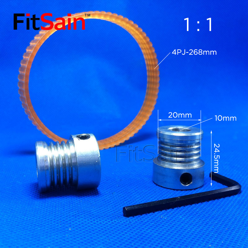FitSain-Multi wedge 4PJ Belt pulley 4 slots for motor shaft 10mm-10mm aluminum alloy pulley 1:1 image