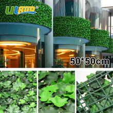 ULAND Faux Begonia Lvy Leaves Panels Artificial Boxwood Hedge 50x50cm/pc Greenery Mat Garden Decor Indoor Outdoor Balcony Fence