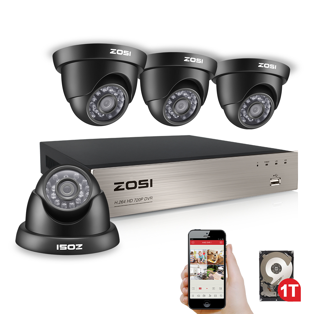 ZOSI 8CH 1080N TVI H.264+ 8CH DVR 4PCS 720P Outdoor Dome CCTV Video Home Security Camera System Surveillance Kits zosi 8ch 1080n tvi h 264 1tb 8ch dvr 8 720p outdoor bullet dome cctv video home security camera system surveillance kits