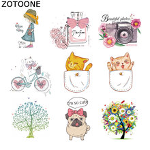 ZOTOONE Iron on Patches Cartoon Animal DIY Heat Transfer for Clothing Applique Baby Clothes Decoration Combination E