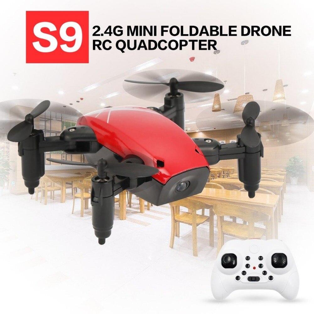 S9 2,4g Mini plegable Drone RC Quadcopter con la cámara, No 3D Flip una tecla de modo de retorno sin cabeza H /L velocidad interruptor giroscopio RC