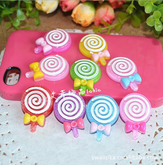 Free shipping Wholesale mix 30pc Resin Flat back Cartoon lollipop Convex circular hair and phone DIY