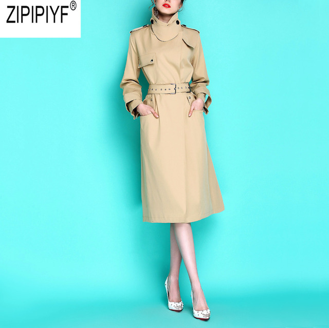 2018 Autumn New England Style Trench Women Fashion Long Sleeve Turn Down Collar Khaki Adjusted Waist Military Trench Coat C3079