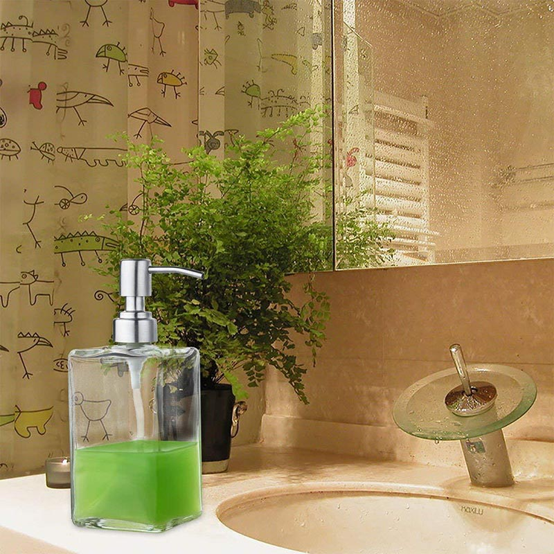 Glass Shampoo Dispenser Stainless Steel Pump Liquid Soap Essential Oils Lotions Bottle HUG-Deals
