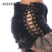 Summer Lace Up Shorts Jeans Fashion Hole High Waist Denim Short Female Sexy Hollow Out Black