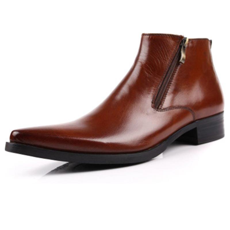 La Frein Tranchant Chaussures Chelsea Vache Martin Style Cuir En Bottes Hommes Tête Britannique Véritable D'affaires De dBroWCxe